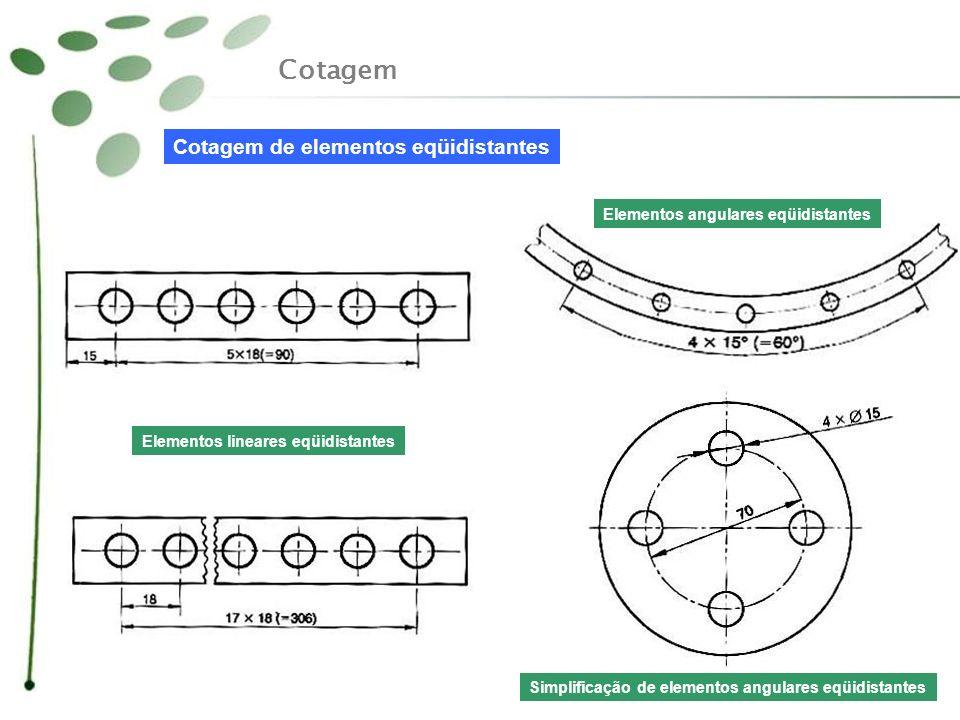 Cotagem Cotagem de elementos eqüidistantes Elementos lineares eqüidistantes Elementos angulares eqüidistantes Simplificação de elementos angulares eqü