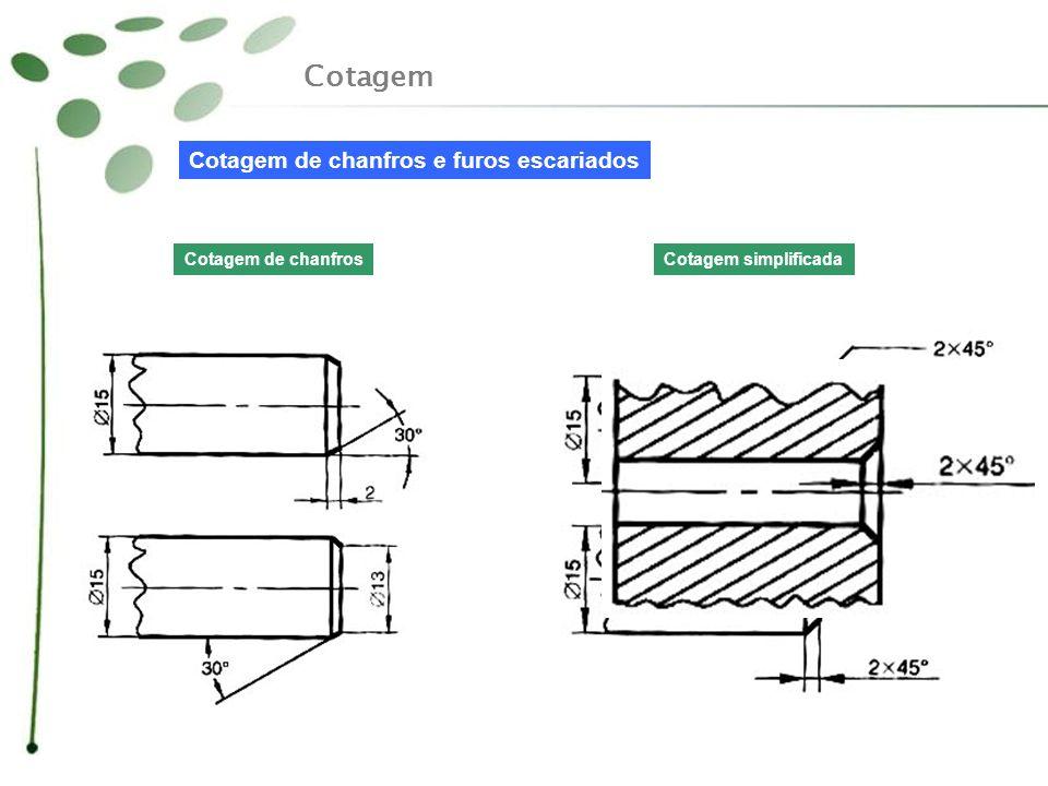Cotagem Cotagem de chanfros e furos escariados Cotagem de chanfrosCotagem simplificada
