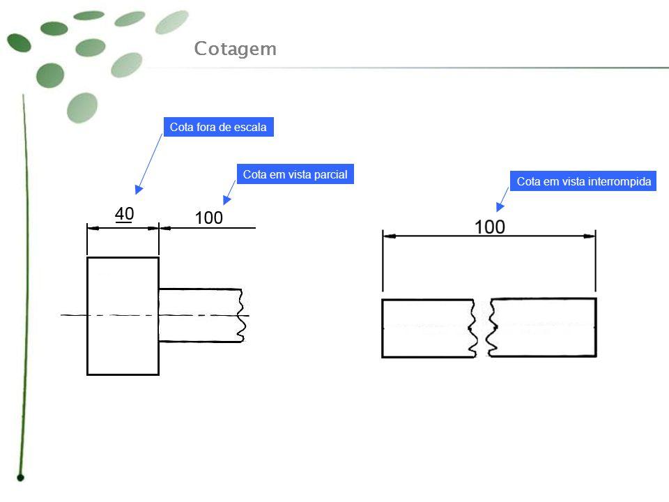 Cotagem Cota fora de escala Cota em vista parcial Cota em vista interrompida