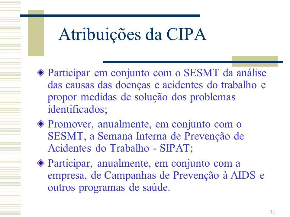 11 Atribuições da CIPA Participar em conjunto com o SESMT da análise das causas das doenças e acidentes do trabalho e propor medidas de solução dos pr