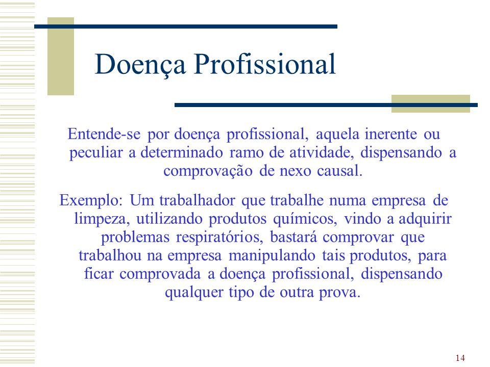 14 Doença Profissional Entende-se por doença profissional, aquela inerente ou peculiar a determinado ramo de atividade, dispensando a comprovação de n