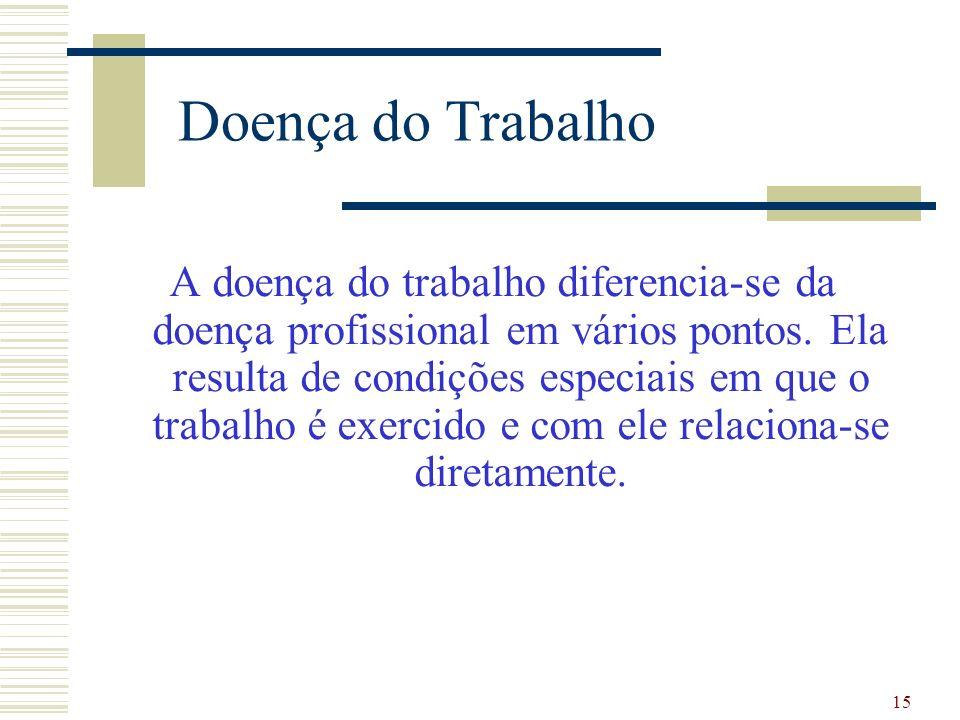 15 Doença do Trabalho A doença do trabalho diferencia-se da doença profissional em vários pontos. Ela resulta de condições especiais em que o trabalho