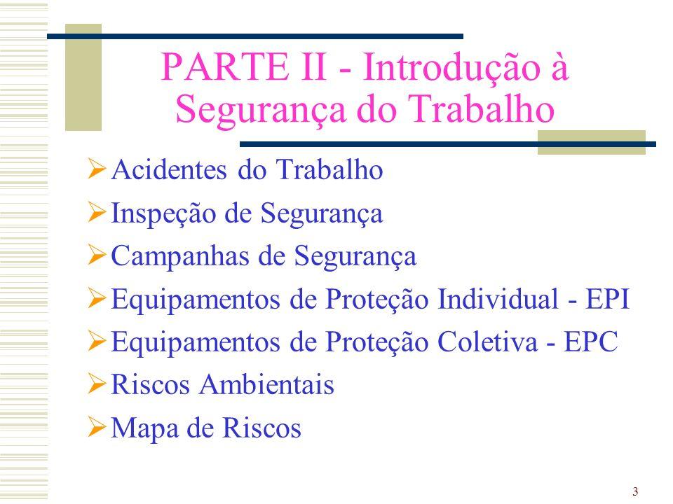 3 PARTE II - Introdução à Segurança do Trabalho Acidentes do Trabalho Inspeção de Segurança Campanhas de Segurança Equipamentos de Proteção Individual