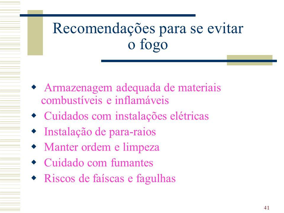 41 Recomendações para se evitar o fogo Armazenagem adequada de materiais combustíveis e inflamáveis Cuidados com instalações elétricas Instalação de p