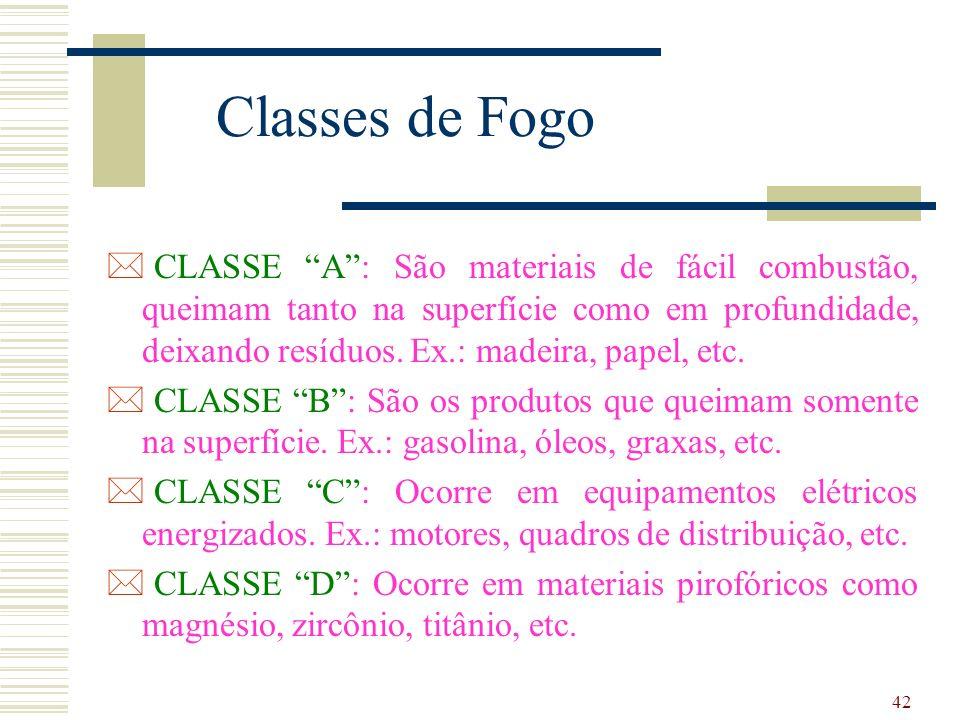 42 Classes de Fogo * CLASSE A: São materiais de fácil combustão, queimam tanto na superfície como em profundidade, deixando resíduos. Ex.: madeira, pa