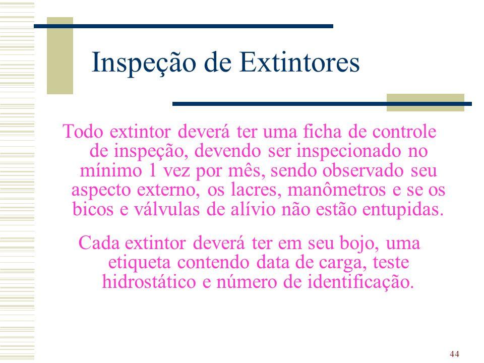 44 Inspeção de Extintores Todo extintor deverá ter uma ficha de controle de inspeção, devendo ser inspecionado no mínimo 1 vez por mês, sendo observad
