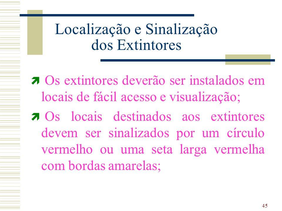 45 Localização e Sinalização dos Extintores Os extintores deverão ser instalados em locais de fácil acesso e visualização; Os locais destinados aos ex