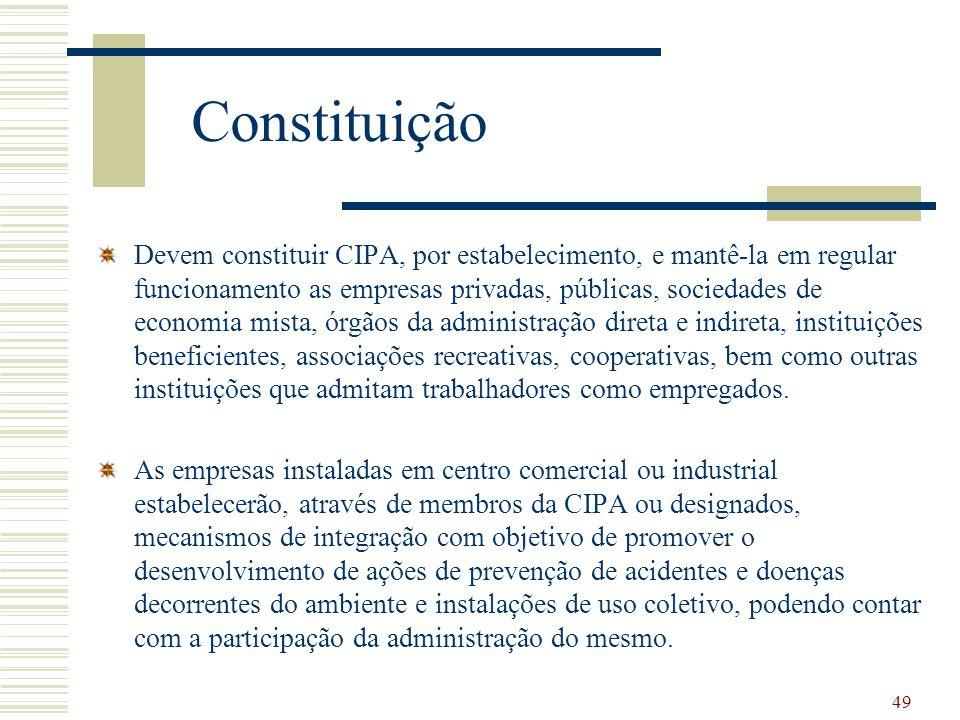 49 Constituição Devem constituir CIPA, por estabelecimento, e mantê-la em regular funcionamento as empresas privadas, públicas, sociedades de economia