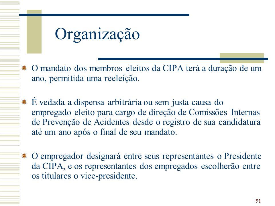 51 Organização O mandato dos membros eleitos da CIPA terá a duração de um ano, permitida uma reeleição. É vedada a dispensa arbitrária ou sem justa ca