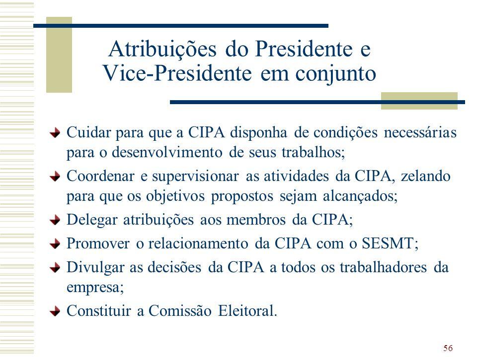 56 Atribuições do Presidente e Vice-Presidente em conjunto Cuidar para que a CIPA disponha de condições necessárias para o desenvolvimento de seus tra