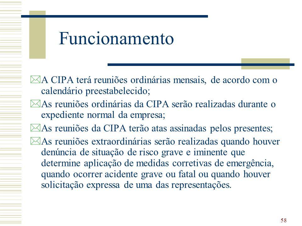 58 Funcionamento *A CIPA terá reuniões ordinárias mensais, de acordo com o calendário preestabelecido; *As reuniões ordinárias da CIPA serão realizada