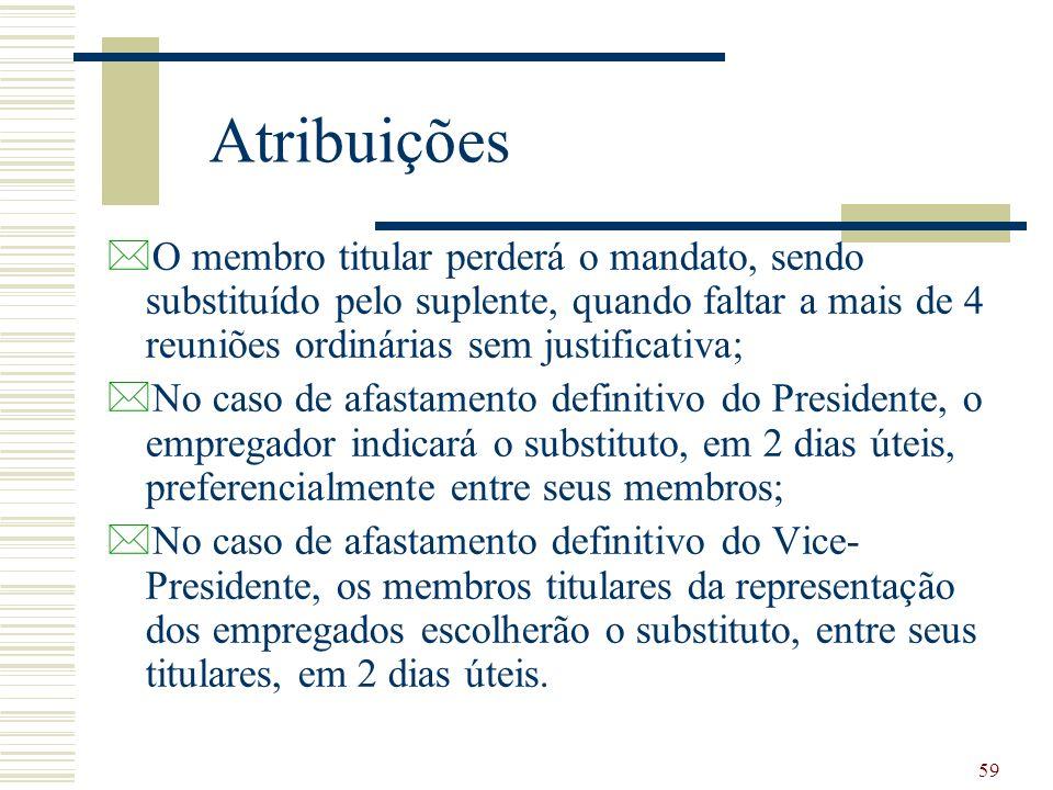 59 Atribuições *O membro titular perderá o mandato, sendo substituído pelo suplente, quando faltar a mais de 4 reuniões ordinárias sem justificativa;