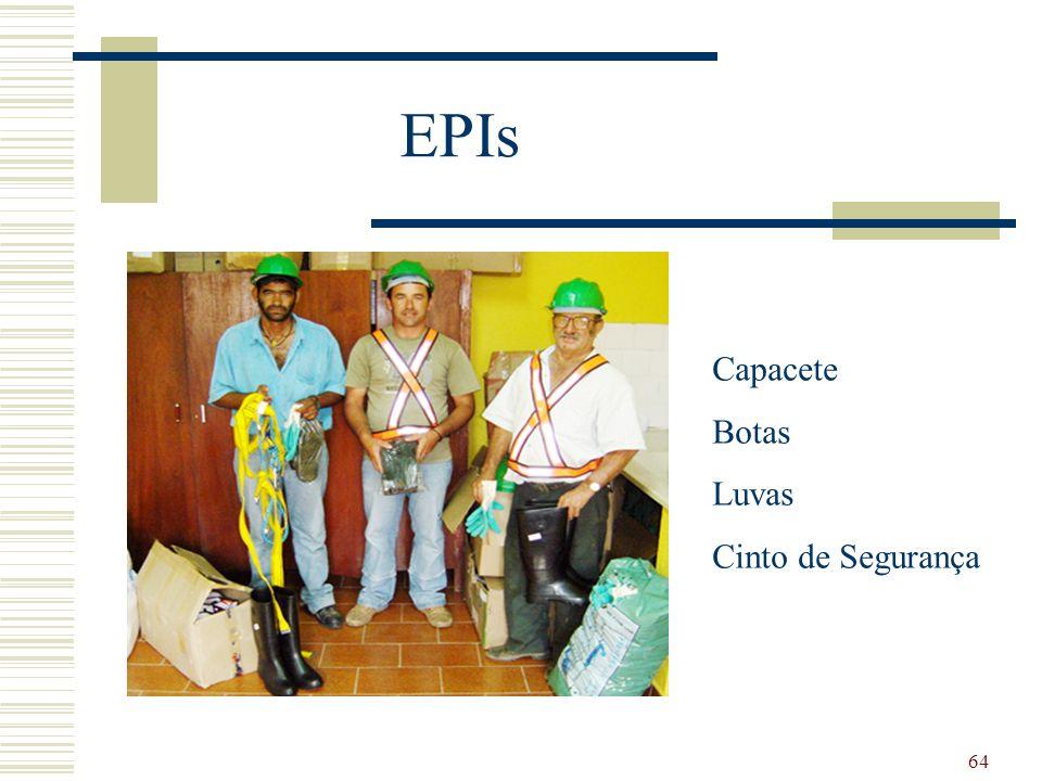 64 EPIs Capacete Botas Luvas Cinto de Segurança