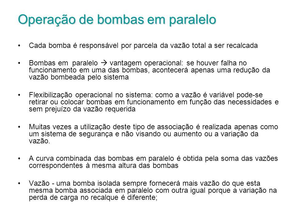 Operação de bombas em paralelo Cada bomba é responsável por parcela da vazão total a ser recalcada Bombas em paralelo vantagem operacional: se houver