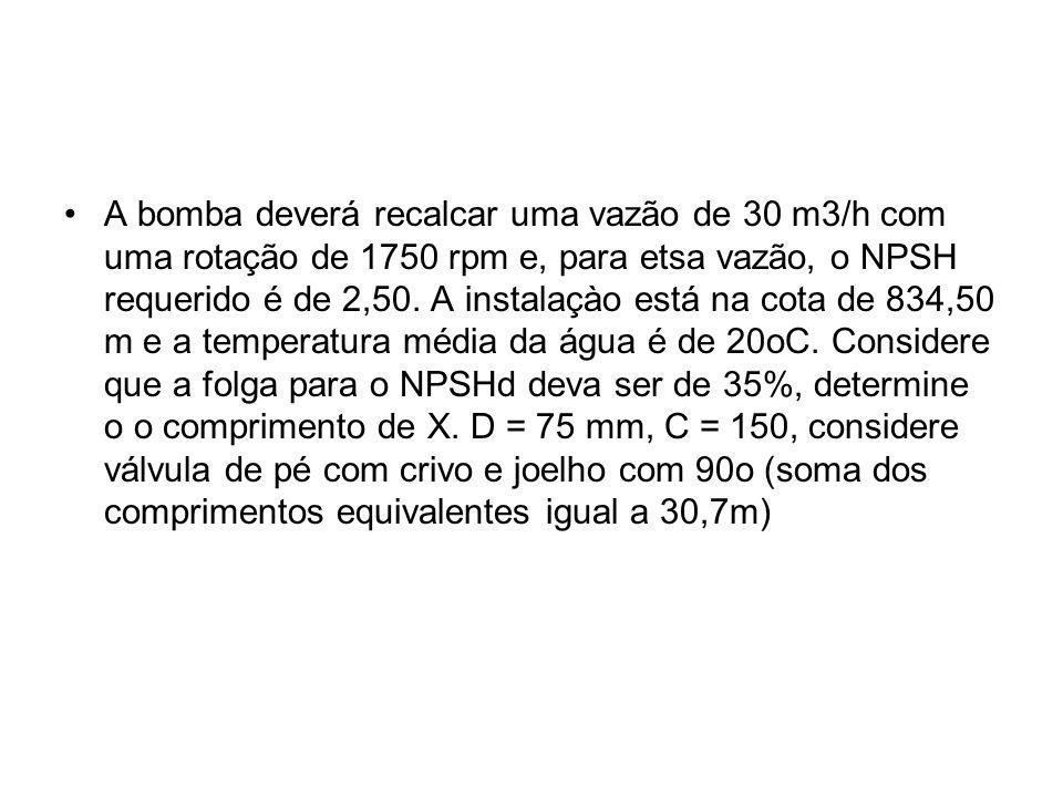 A bomba deverá recalcar uma vazão de 30 m3/h com uma rotação de 1750 rpm e, para etsa vazão, o NPSH requerido é de 2,50. A instalaçào está na cota de
