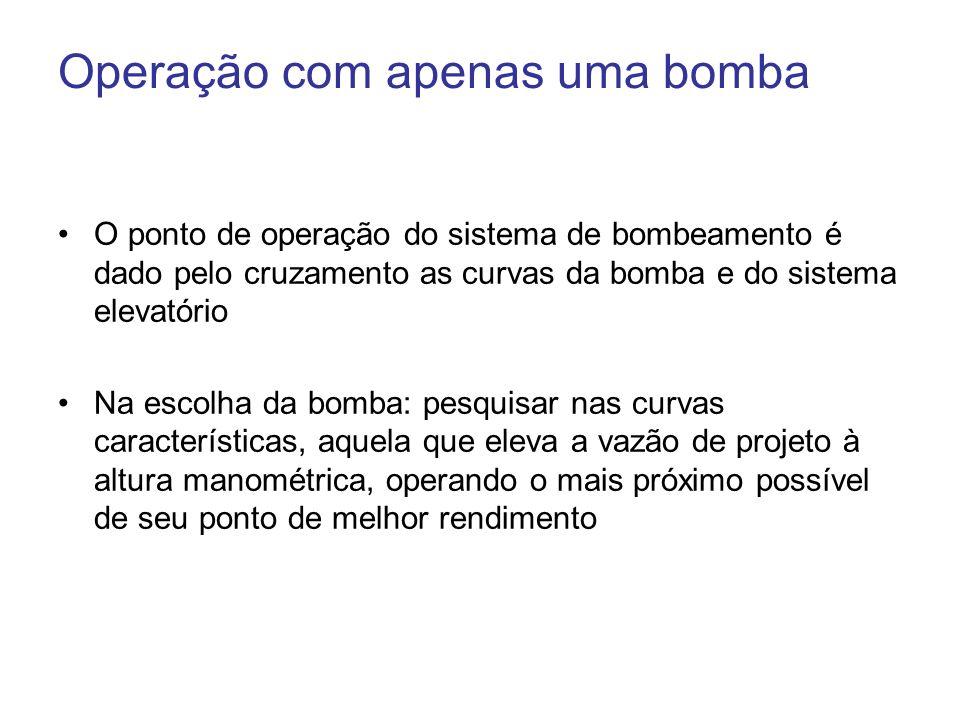 Operação com apenas uma bomba O ponto de operação do sistema de bombeamento é dado pelo cruzamento as curvas da bomba e do sistema elevatório Na escol