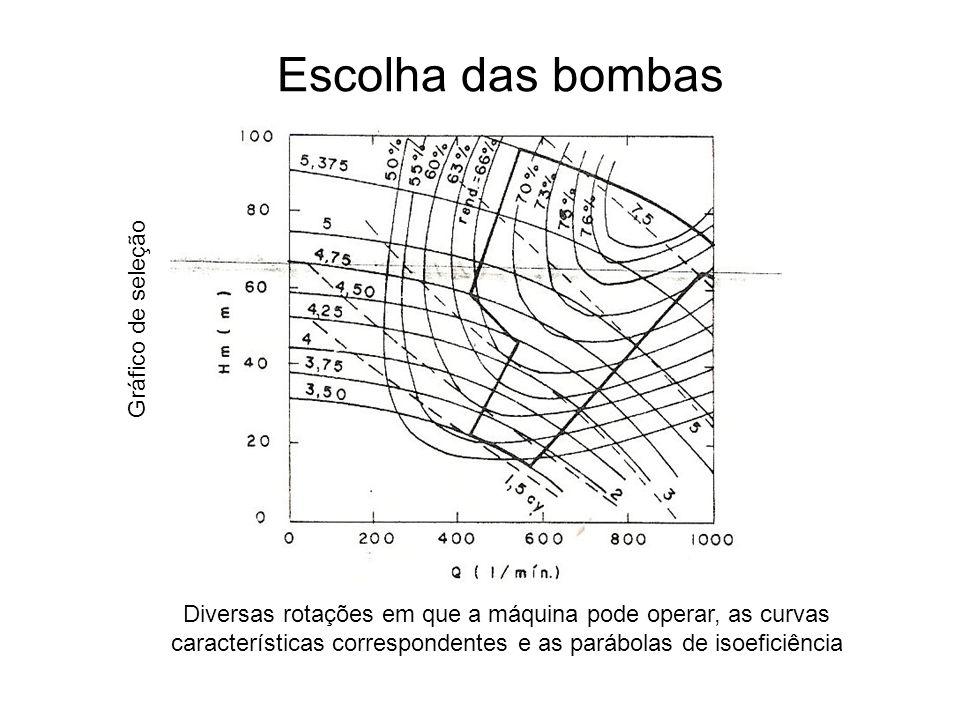 São omitidas as linhas de isoeficiência Escolhida a bomba, procura-se no catálogo do fabricante a respectiva curva característica que fornece o diâmetro do rotor, o rendimento e outros dados