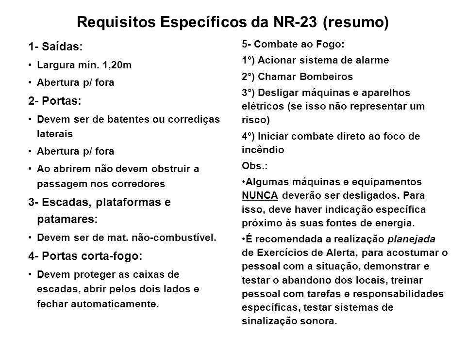 Requisitos Específicos da NR-23 (resumo) 1- Saídas: Largura mín. 1,20m Abertura p/ fora 2- Portas: Devem ser de batentes ou corrediças laterais Abertu