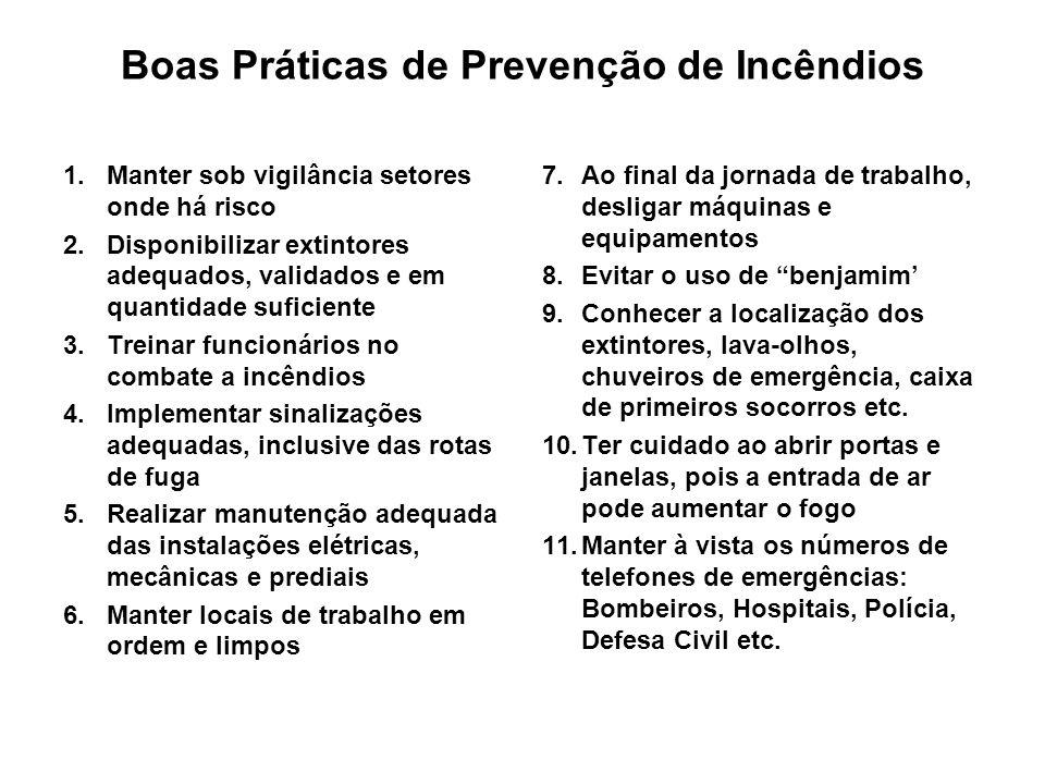 Boas Práticas de Prevenção de Incêndios 1.Manter sob vigilância setores onde há risco 2.Disponibilizar extintores adequados, validados e em quantidade