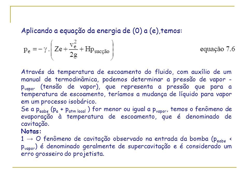 Aplicando a equação da energia de (0) a (e),temos: Através da temperatura de escoamento do fluido, com auxílio de um manual de termodinâmica, podemos