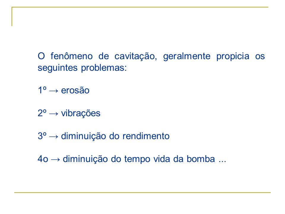 O fenômeno de cavitação, geralmente propicia os seguintes problemas: 1º erosão 2º vibrações 3º diminuição do rendimento 4o diminuição do tempo vida da