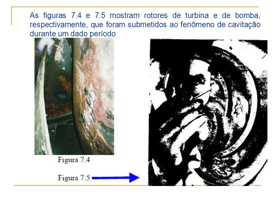 As figuras 7.4 e 7.5 mostram rotores de turbina e de bomba, respectivamente, que foram submetidos ao fenômeno de cavitação durante um dado período