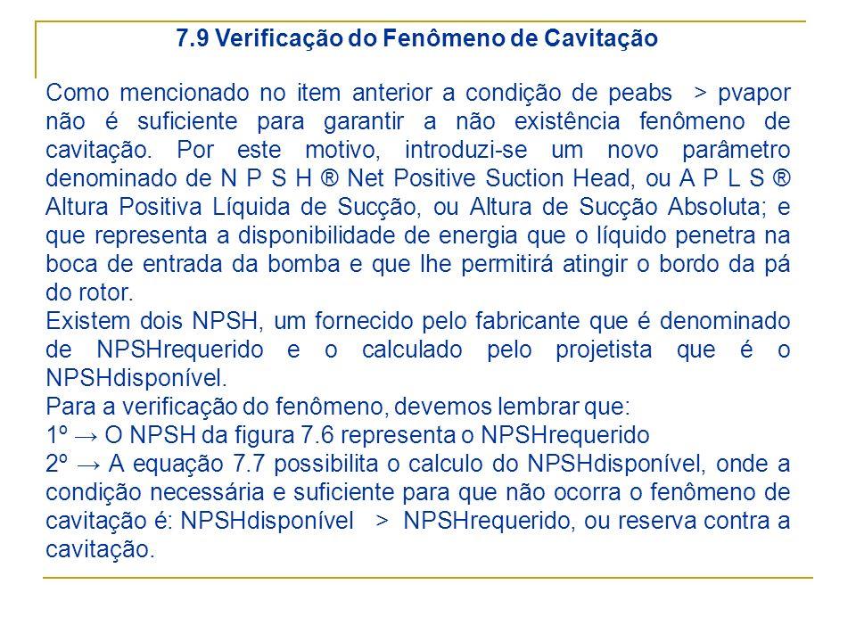 7.9 Verificação do Fenômeno de Cavitação Como mencionado no item anterior a condição de peabs > pvapor não é suficiente para garantir a não existência