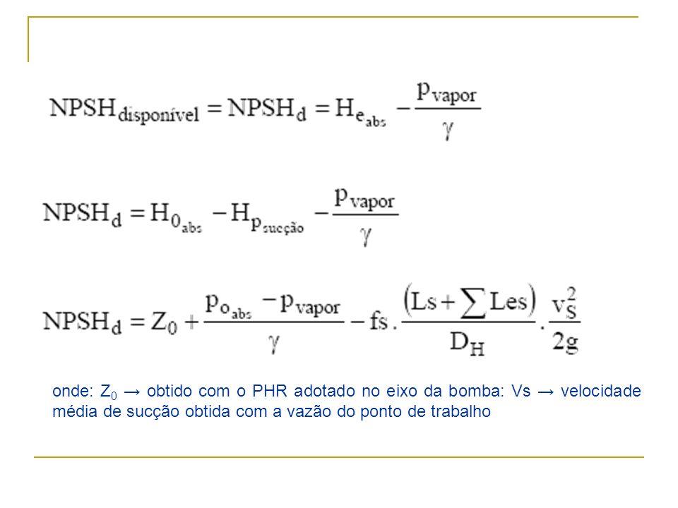onde: Z 0 obtido com o PHR adotado no eixo da bomba: Vs velocidade média de sucção obtida com a vazão do ponto de trabalho