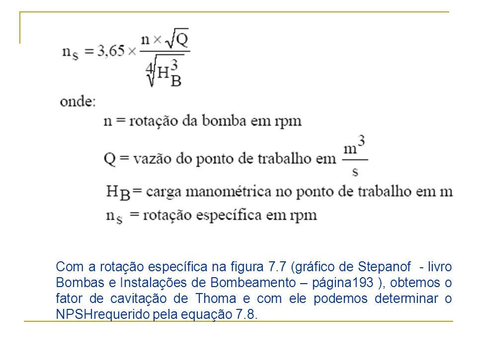 Com a rotação específica na figura 7.7 (gráfico de Stepanof - livro Bombas e Instalações de Bombeamento – página193 ), obtemos o fator de cavitação de