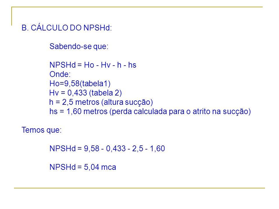 B. CÁLCULO DO NPSHd: Sabendo-se que: NPSHd = Ho - Hv - h - hs Onde: Ho=9,58(tabela1) Hv = 0,433 (tabela 2) h = 2,5 metros (altura sucção) hs = 1,60 me