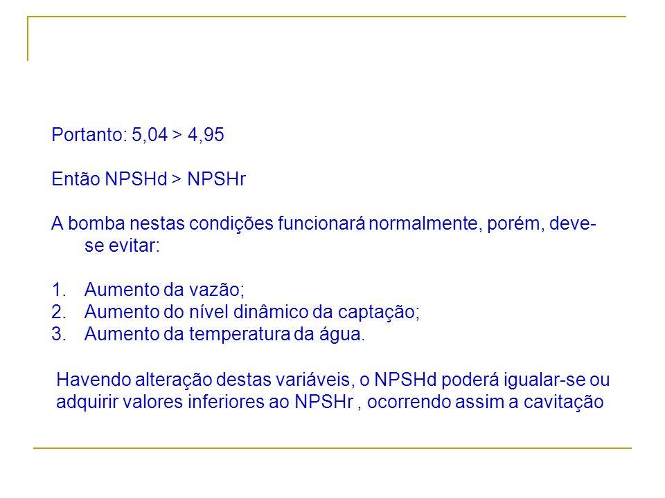 Portanto: 5,04 > 4,95 Então NPSHd > NPSHr A bomba nestas condições funcionará normalmente, porém, deve- se evitar: 1.Aumento da vazão; 2.Aumento do ní