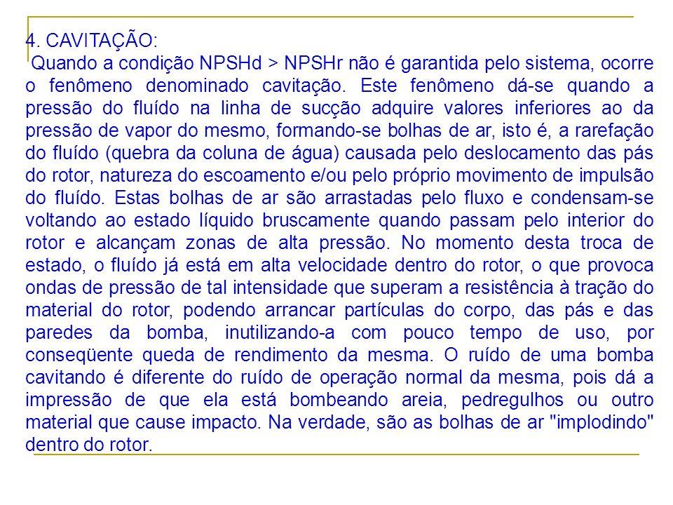 4. CAVITAÇÃO: Quando a condição NPSHd > NPSHr não é garantida pelo sistema, ocorre o fenômeno denominado cavitação. Este fenômeno dá-se quando a press
