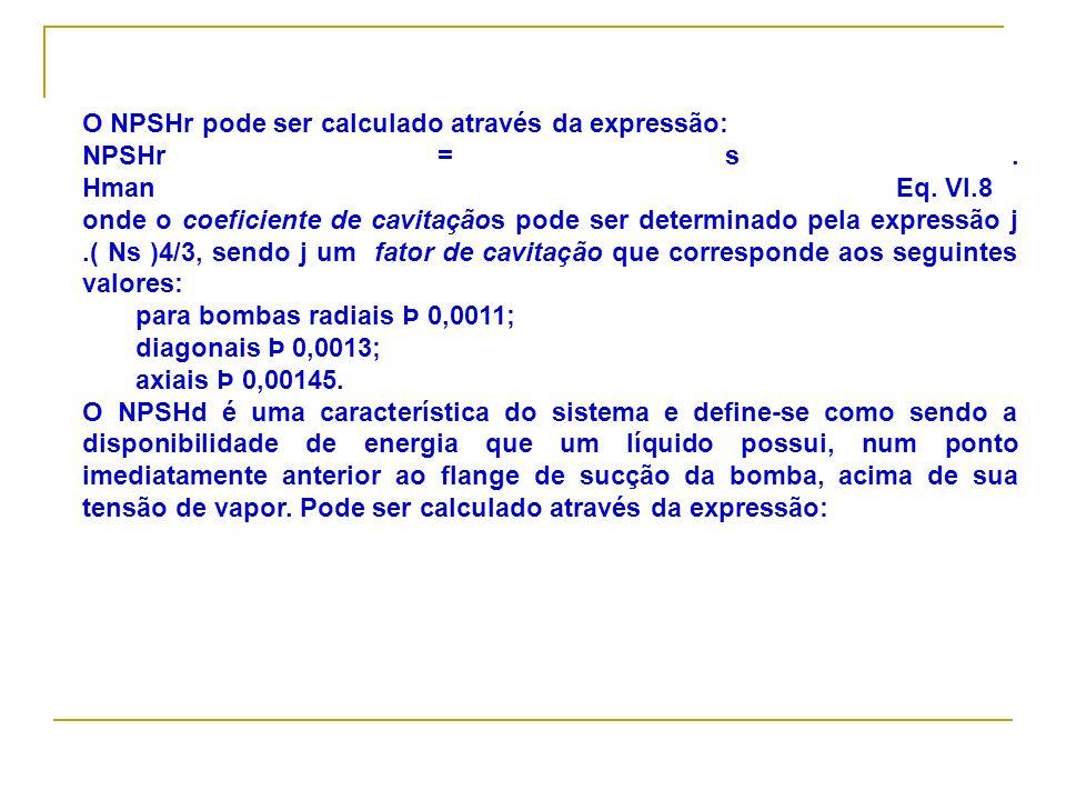 O NPSHr pode ser calculado através da expressão: NPSHr = s. Hman Eq. VI.8 onde o coeficiente de cavitaçãos pode ser determinado pela expressão j.( Ns