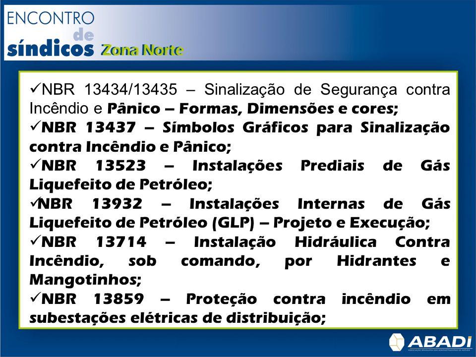NBR 14039 – Instalações Elétricas de Alta Tensão; NBR 14276 – Brigada de incêndio – requisitos; NBR 14608 – Bombeiro Profissional Civil; NBR 14880 – Saídas de emergência em edifícios, Escadas de segurança, Controle de fumaça por pressurização NBR 5410 – Sistema Elétrico; NBR 5419 – Proteção Contra Descargas Elétricas Atmosféricas e SPDA (Pára-raios); NBR 9077 – Saídas de Emergência em Edificações; NBR 9441/13848 – Sistemas de Detecção e Alarme de Incêndio; NR 23, da Portaria 3214 do Ministério do Trabalho – Proteção Contra Incêndio para Locais de Trabalho.