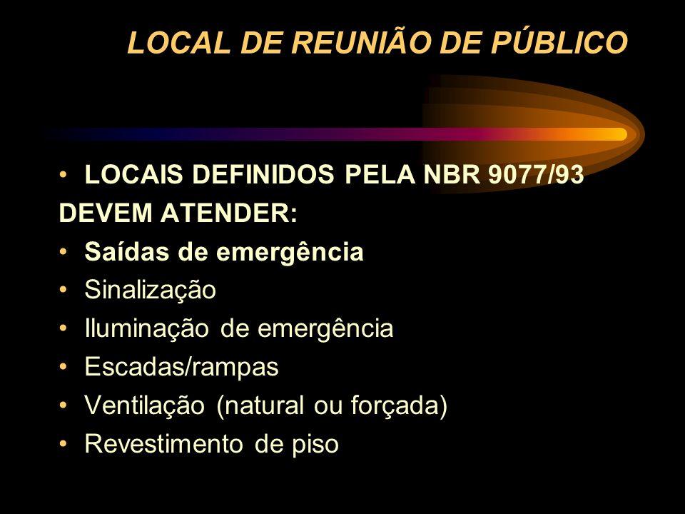 LOCAL DE REUNIÃO DE PÚBLICO LOCAIS DEFINIDOS PELA NBR 9077/93 DEVEM ATENDER: Saídas de emergência Sinalização Iluminação de emergência Escadas/rampas
