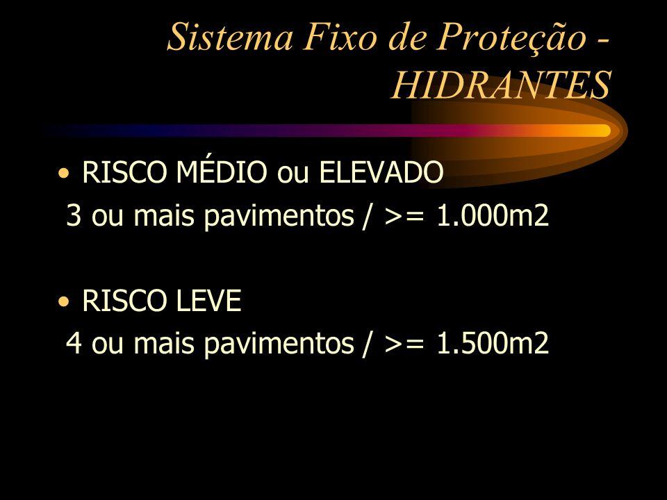 Sistema Fixo de Proteção - HIDRANTES RISCO MÉDIO ou ELEVADO 3 ou mais pavimentos / >= 1.000m2 RISCO LEVE 4 ou mais pavimentos / >= 1.500m2