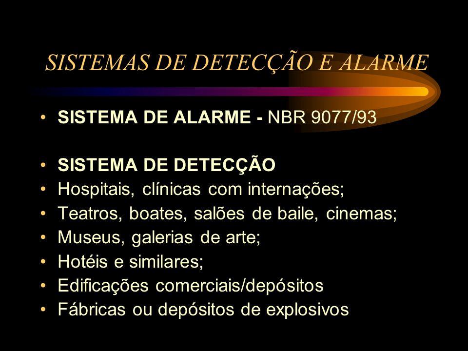 SISTEMAS DE DETECÇÃO E ALARME SISTEMA DE ALARME - NBR 9077/93 SISTEMA DE DETECÇÃO Hospitais, clínicas com internações; Teatros, boates, salões de bail