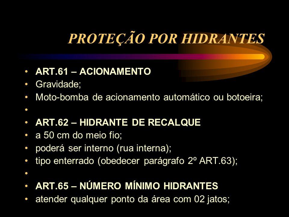 PROTEÇÃO POR HIDRANTES ART.61 – ACIONAMENTO Gravidade; Moto-bomba de acionamento automático ou botoeira; ART.62 – HIDRANTE DE RECALQUE a 50 cm do meio