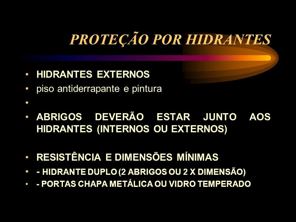 PROTEÇÃO POR HIDRANTES HIDRANTES EXTERNOS piso antiderrapante e pintura ABRIGOS DEVERÃO ESTAR JUNTO AOS HIDRANTES (INTERNOS OU EXTERNOS) RESISTÊNCIA E