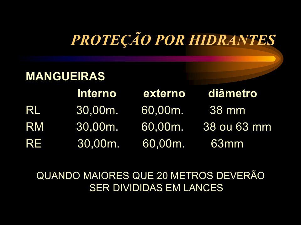 PROTEÇÃO POR HIDRANTES MANGUEIRAS Interno externo diâmetro RL 30,00m. 60,00m. 38 mm RM 30,00m. 60,00m. 38 ou 63 mm RE 30,00m. 60,00m. 63mm QUANDO MAIO