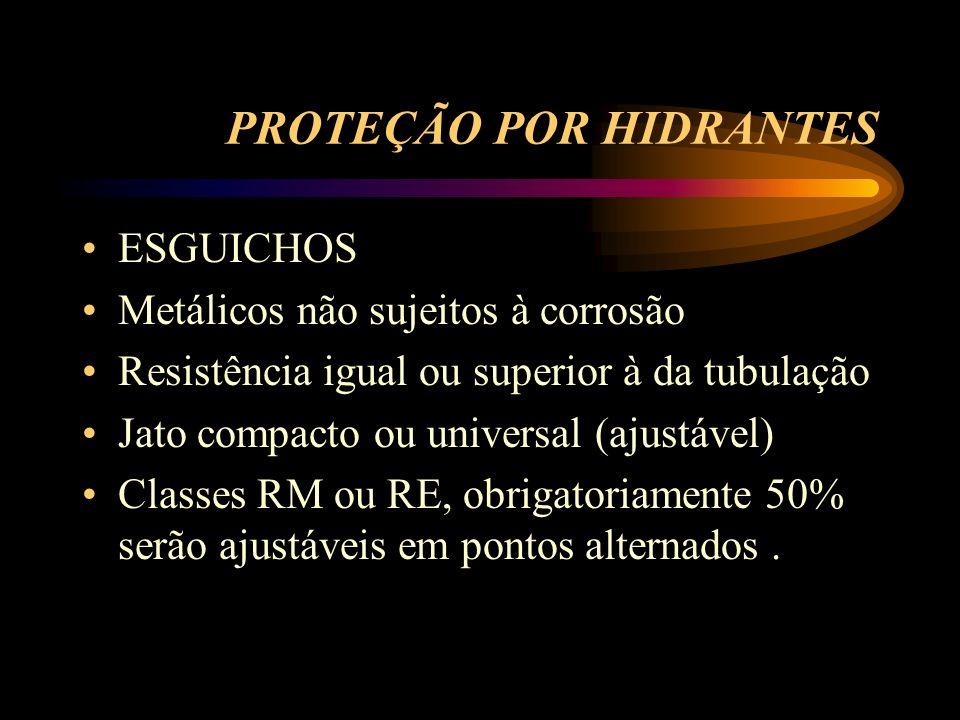 PROTEÇÃO POR HIDRANTES ESGUICHOS Metálicos não sujeitos à corrosão Resistência igual ou superior à da tubulação Jato compacto ou universal (ajustável)