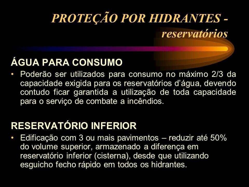 PROTEÇÃO POR HIDRANTES - reservatórios ÁGUA PARA CONSUMO Poderão ser utilizados para consumo no máximo 2/3 da capacidade exigida para os reservatórios