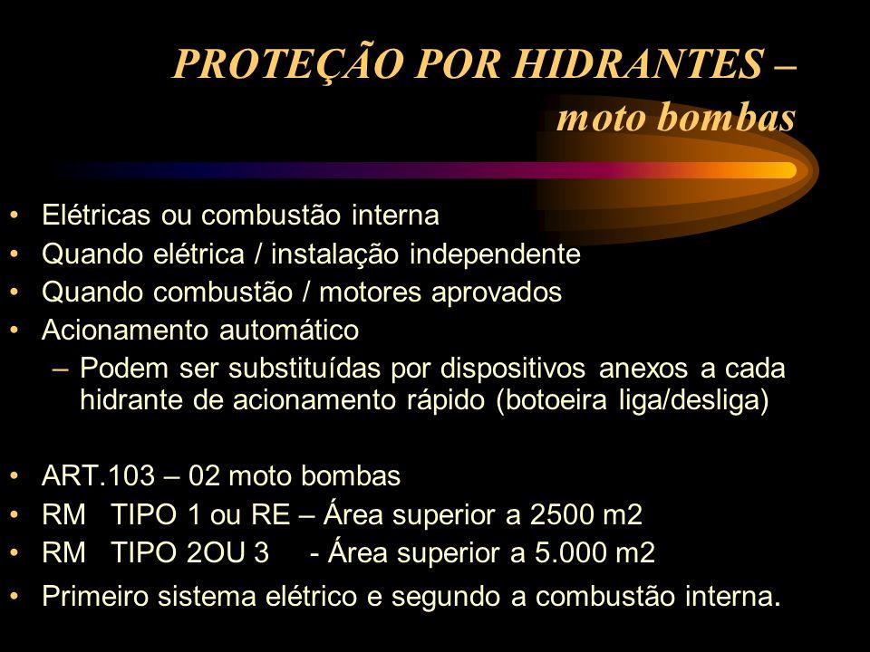 PROTEÇÃO POR HIDRANTES – moto bombas Elétricas ou combustão interna Quando elétrica / instalação independente Quando combustão / motores aprovados Aci