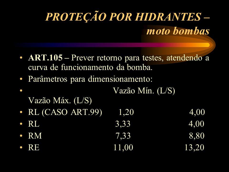 PROTEÇÃO POR HIDRANTES – moto bombas ART.105 – Prever retorno para testes, atendendo a curva de funcionamento da bomba. Parâmetros para dimensionament