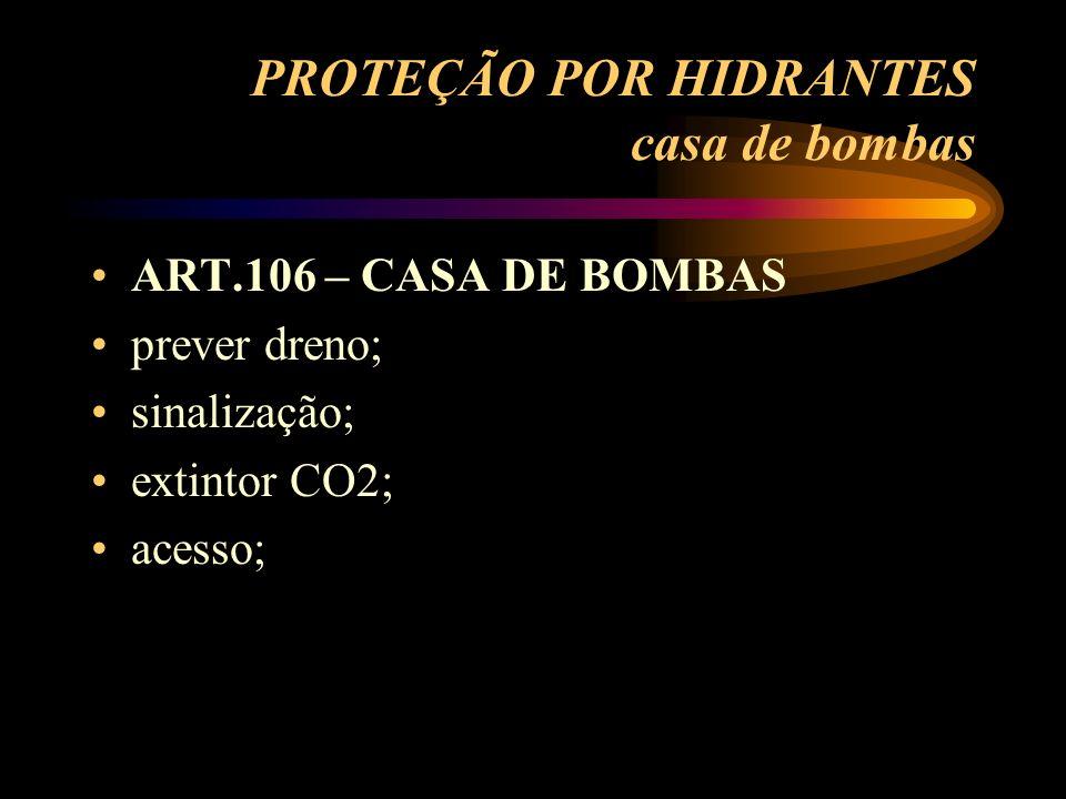 PROTEÇÃO POR HIDRANTES casa de bombas ART.106 – CASA DE BOMBAS prever dreno; sinalização; extintor CO2; acesso;