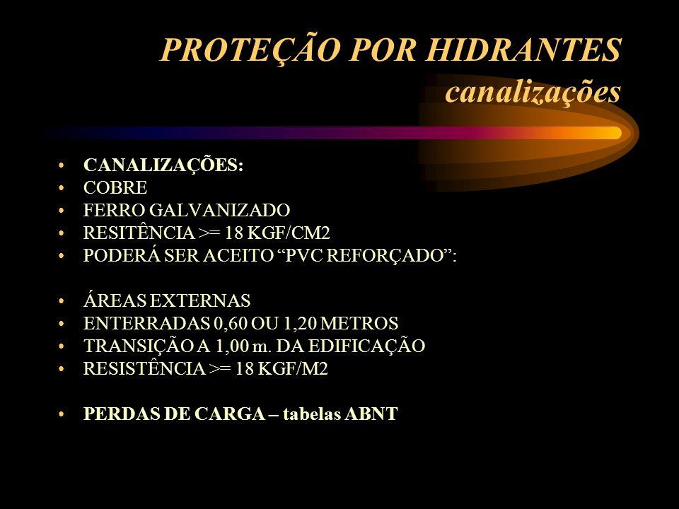 PROTEÇÃO POR HIDRANTES canalizações CANALIZAÇÕES: COBRE FERRO GALVANIZADO RESITÊNCIA >= 18 KGF/CM2 PODERÁ SER ACEITO PVC REFORÇADO: ÁREAS EXTERNAS ENT