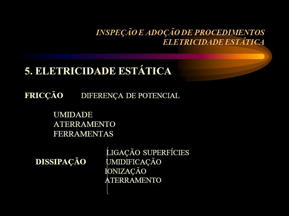 INSPEÇÃO E ADOÇÃO DE PROCEDIMENTOS ELETRICIDADE ESTÁTICA 5. ELETRICIDADE ESTÁTICA FRICÇÃO DIFERENÇA DE POTENCIAL UMIDADE ATERRAMENTO FERRAMENTAS LIGAÇ