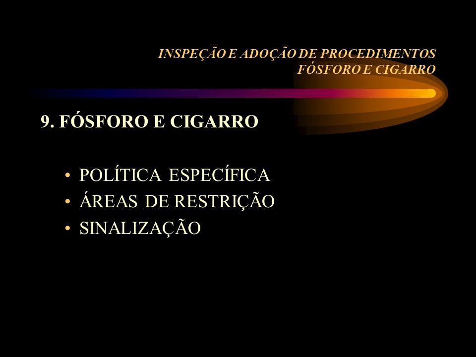 INSPEÇÃO E ADOÇÃO DE PROCEDIMENTOS FÓSFORO E CIGARRO 9. FÓSFORO E CIGARRO POLÍTICA ESPECÍFICA ÁREAS DE RESTRIÇÃO SINALIZAÇÃO