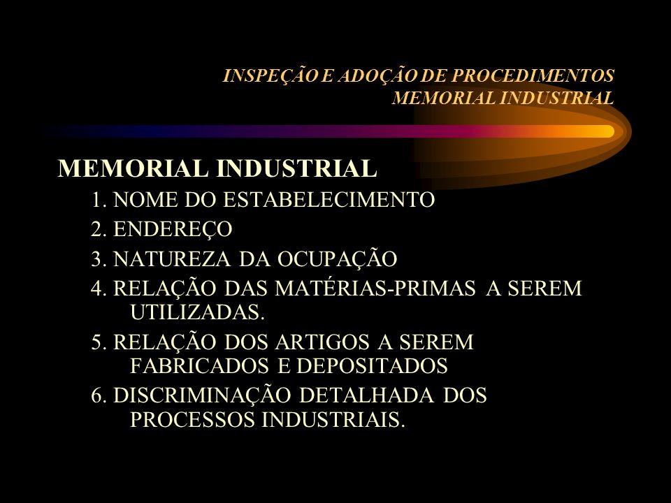 INSPEÇÃO E ADOÇÃO DE PROCEDIMENTOS MEMORIAL INDUSTRIAL MEMORIAL INDUSTRIAL 1. NOME DO ESTABELECIMENTO 2. ENDEREÇO 3. NATUREZA DA OCUPAÇÃO 4. RELAÇÃO D