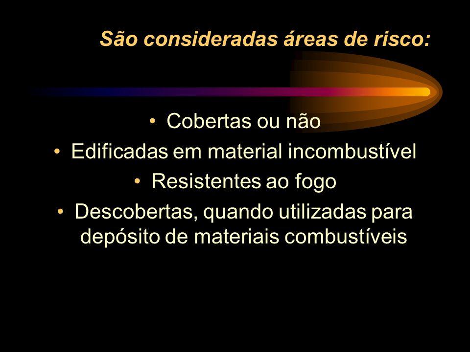 São consideradas áreas de risco: Cobertas ou não Edificadas em material incombustível Resistentes ao fogo Descobertas, quando utilizadas para depósito
